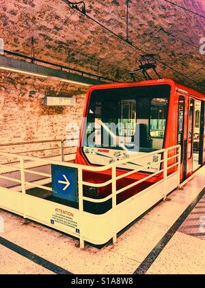 Train in Saint-Just funicular station, Lyon, Auvergne, France, Europe - Stock Photo