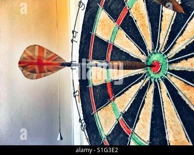 Bullseye in Dartboard - Stock Photo