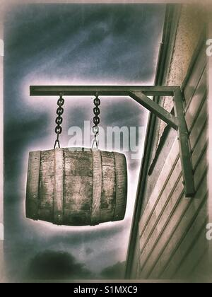 Beer Barrel sign hanging outside a microbrewery, Dove Street, Ipswich. - Stock Photo