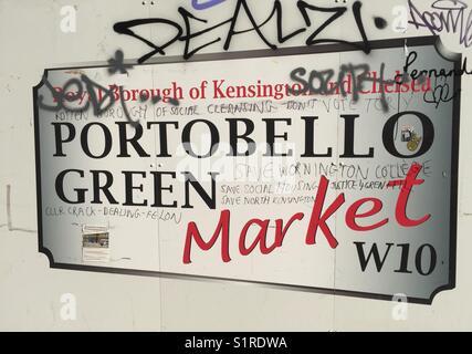 Royal Borough of Kensington and Chelsea, Portobello Green Market sign - Stock Photo
