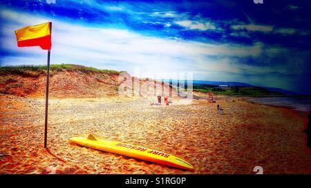 Surf rescue, Inverness beach, Cape Breton Island, Nova Scotia, Canada - Stock Photo