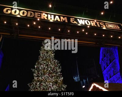 The large Christmas tree at The Distillery District in Toronto. - Stock Photo