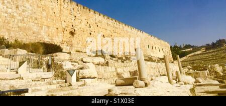 The archeological park in the Jewish quarter in the old city of Jerusalem, Israel. - Stock Photo