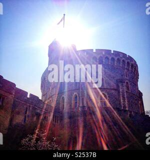 Windsor Castle in the sun. - Stock Photo