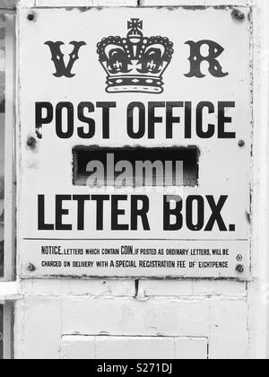 A rare Victorian letter box in Blanchland, Northumberland, one of only three remaining in England. - Stock Photo