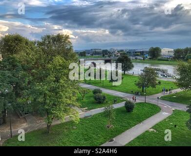 View from Wawel Castle to Vistula River on a Cloudy Day in Krakow, Poland - Stock Photo