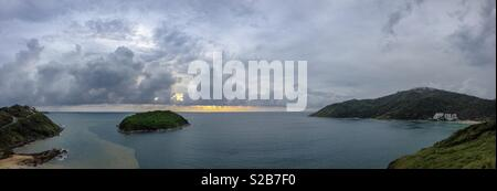 Yanui Beach, Promthep Cape, Ko Man Island and Nai Harn Beach from Windmill Viewpoint, Phuket, Thailand - Stock Photo