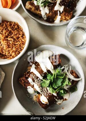 Enchiladas with mole poblano and rice - Stock Photo