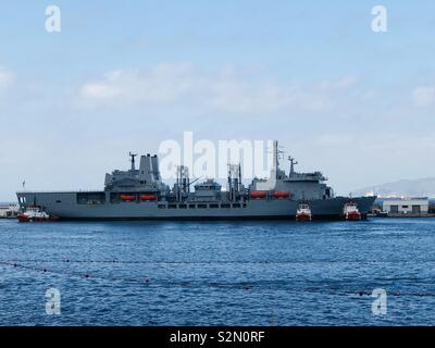RFA Fort Victoria arriving in Gibraltar - Stock Photo