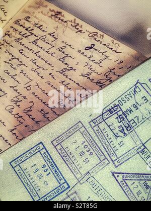 Vintage US passport in hand written diary from the 1950s - Stock Photo