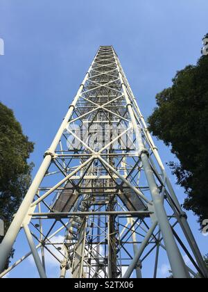 The Branca tower seen from its bottom. This steel structure is an historical piece of architecture located in Parco Sempione, Milan, Italy - Stock Photo