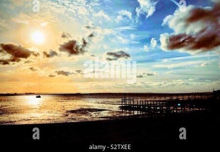 Southend on sea pier sunset - Stock Photo