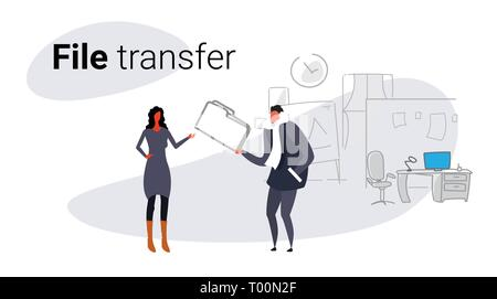 couple meeting in co-working private data sharing businessman giving confidential documents folder to businesswoman file transfer concept sketch - Stock Photo