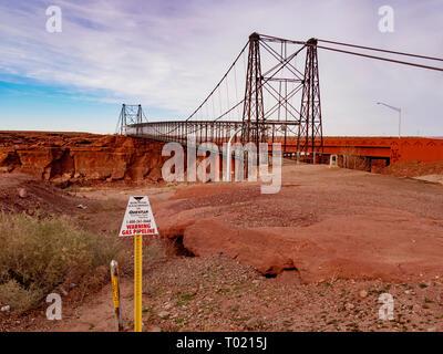 Historic Tanner's Crossing Bridge over the Little Colorado River, Cameron, Arizona. - Stock Photo