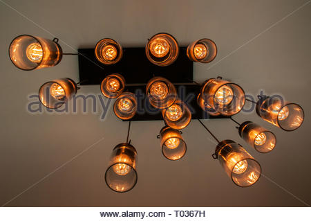 Ceiling lights hanging in abstract view Ontario Canada - Stock Photo