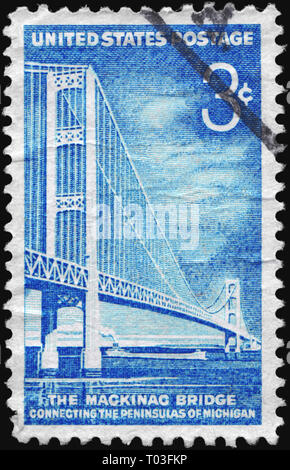 USA - CIRCA 1958: A Stamp printed in USA shows Mackinac Bridge, familiarly known as 'Big Mac' and 'Mighty Mac', circa 1958 - Stock Photo
