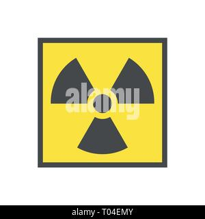 Radioactive warning yellow triangle sign. Radioactivity warning vector symbol. - Stock Photo