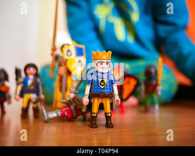 toy soldiers, King of knights in the children's room - Stock Photo
