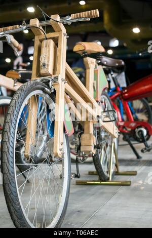 Malaga, Spain - May 20, 2018. bicycle made of wood, Salon Moto & Bike Andalucía, Malaga city, Spain - Stock Photo