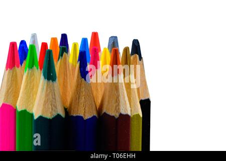 Tips of colored pencils on white background. Back to school. Copy space. Close up - Stock Photo