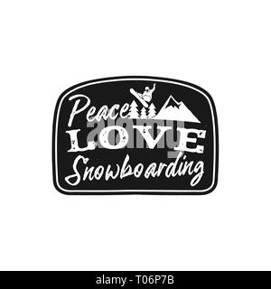 Snowboard retro logo with quote - Peace Love Snowboarding. Mountain Explorer Badge. Camping adventure emblem, monochrome. Features snowboarder jumping - Stock Photo