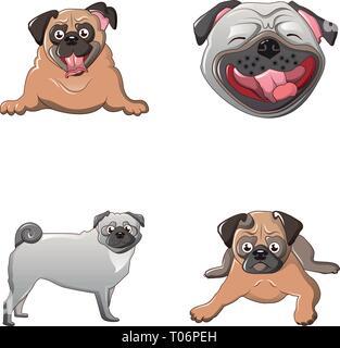 Pug dog icons set, cartoon style - Stock Photo
