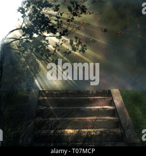 stairs in nature illustration with sun rays coming from one side background - Stock Photo