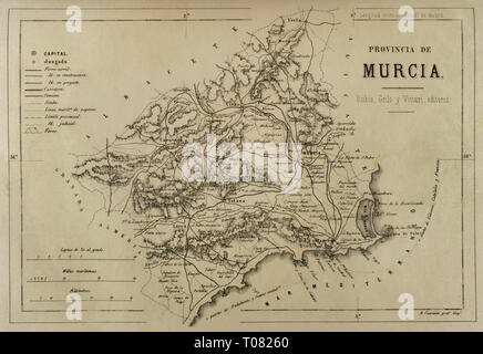 Map of the province of Murcia. Cronica General de España, Historia Ilustrada y Descriptiva de sus Provincias. Murcia, 1870. - Stock Photo