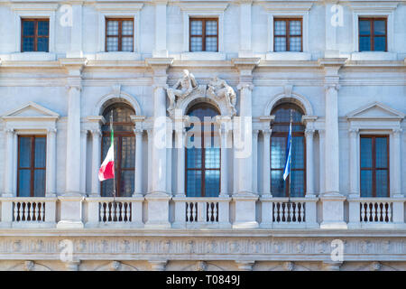 Italy, Bergamo, the facade of the Nuovo palace - Stock Photo
