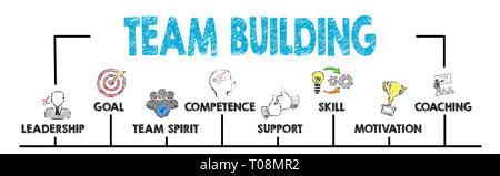 Team building concept. Chart with keywords - Stock Photo