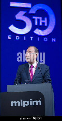 Cannes, France - March 13, 2019: MIPIM - The world's leading property market. Ban Ki-moon, 8th Secretary General of the UN, opened MIPIM's 30th edition. - Stock Photo