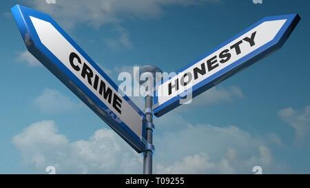 Crime - Honesty street signs - 3D rendering illustration - Stock Photo