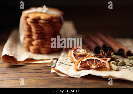 Homemade cookies on dark rustic wooden table, copy space. Healthy vegan wholegrain cookies. - Stock Photo