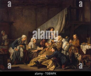 'Filial Piety (The Paralytic)'. France, 1763. Dimensions: 115x146 cm. Museum: State Hermitage, St. Petersburg. Author: JEAN-BAPTISTE GREUZE. - Stock Photo