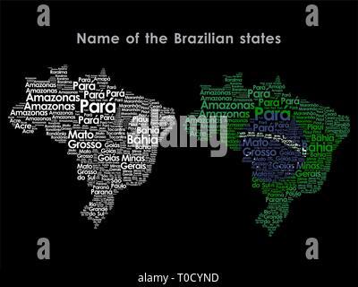 Name of the Brazilian states - Stock Photo