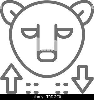 Bear, stock market, finance trade line icon. - Stock Photo