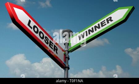 Looser - Winner street signs - 3D rendering illustration - Stock Photo