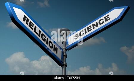 Religion - Science street signs - 3D rendering illustration - Stock Photo