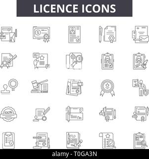 Licence line icons for web and mobile design. Editable stroke signs. Licence  outline concept illustrations - Stock Photo