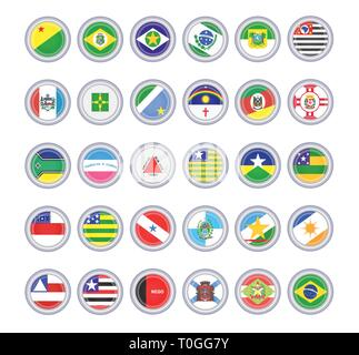 Set of vector icons. Flags of the Brazilian states. 3D illustration. - Stock Photo