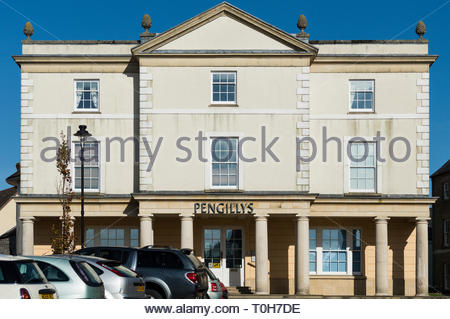 Straight on image of the grand offices of Pengillys in Poundbury, Dorset, England - Stock Photo