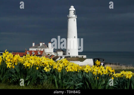 St Mary's Lighthouse in Whitley Bay on the morning of the Spring Equinox. - Stock Photo