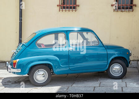 Fiat 600 : old, small, vintage italian car in perfect condition - Stock Photo