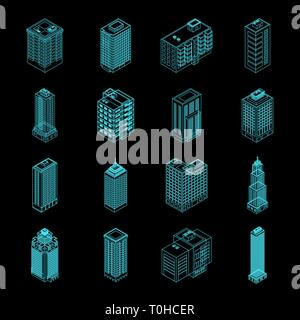 Vector Isometric Holography City Building Set. Vector Isometric City Building Icon Isolated on Black Background. Private House, Skyscraper, Real Estat - Stock Photo