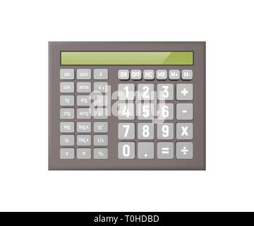 Scientific calculator. Vector illustration. A lot of features, display. Mathematics, Economics science study algebra - Stock Photo