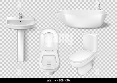 Realistic bathroom collection template. White clean toilet, bowl, sink, washroom basin. Mockup of toilet and sink for Modern bathroom interior. Vector - Stock Photo