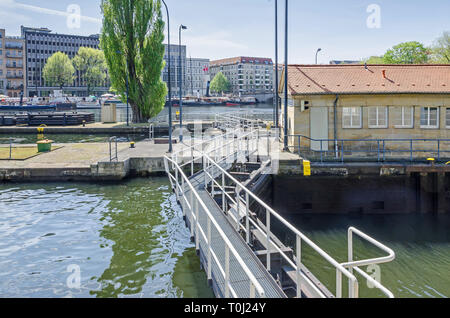 Berlin, Germany - April 22, 2018: Multi-chamber Muehlendamm locks in the central Mitte district of Berlin making the river Spree navigable, wich is un - Stock Photo
