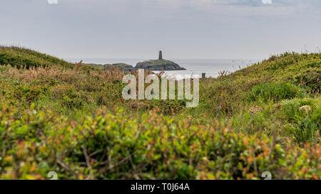 The Rhoscolyn Beacon, seen from Borthwen, Anglesey, Gwynedd, Wales, UK - Stock Photo