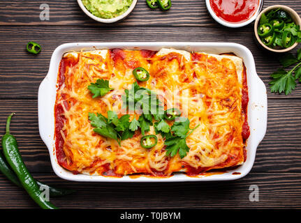 Traditional Mexican enchiladas - Stock Photo
