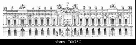 geography / travel, Germany, Berlin, buildings, Zeughaus (old arsenal), built: 1695 - 1705, architect: Francois Blondel, illustration from 'Denkmaeler der Kunst' (Monuments of Art), by Wilhelm Luebke and Carl von Luetzow, 3rd edition, Stuttgart 1879, volume 2, steel engraving by H. Gugeler, after drawing by Wilhelm Riefstahl, chapter architecture, plate L, Central Europe, architecture, 17th/18th century, baroque, building, historic, historical, Brandenburg, Prussia, Prussian, Denkmaler, Denkmäler, Lübke, Lubke, Lützow, Lutzow, Additional-Rights-Clearance-Info-Not-Available - Stock Photo